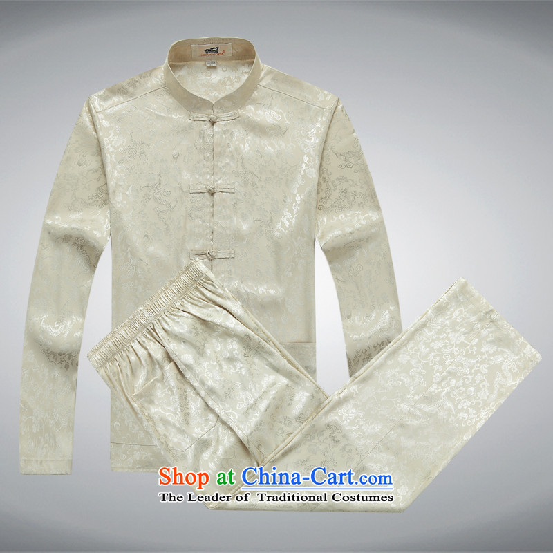 The elderly in the Tang dynasty aeroline male father boxed long-sleeved two kits light yellow燲XL