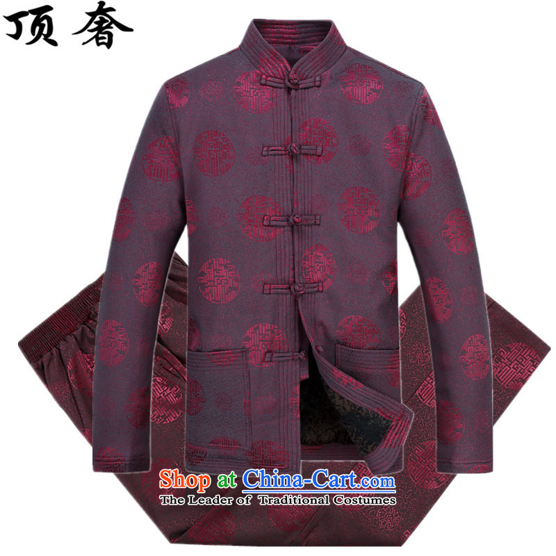 Top Luxury?2015 autumn and winter, older men Tang blouses and lint-free thick loose fit Older long-sleeved jacket over shou version relaxd dress blue Millennium) Red Kit?L/175