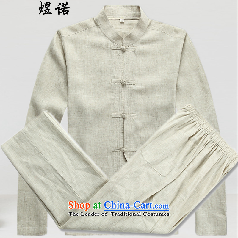 Familiar with the men s Tang dynasty cotton linen package for older peoples Han-Autumn Chinese Chinese tunic male and relaxd casual dress shirt improved loose Hamilton yellow燲XL_185 Kit