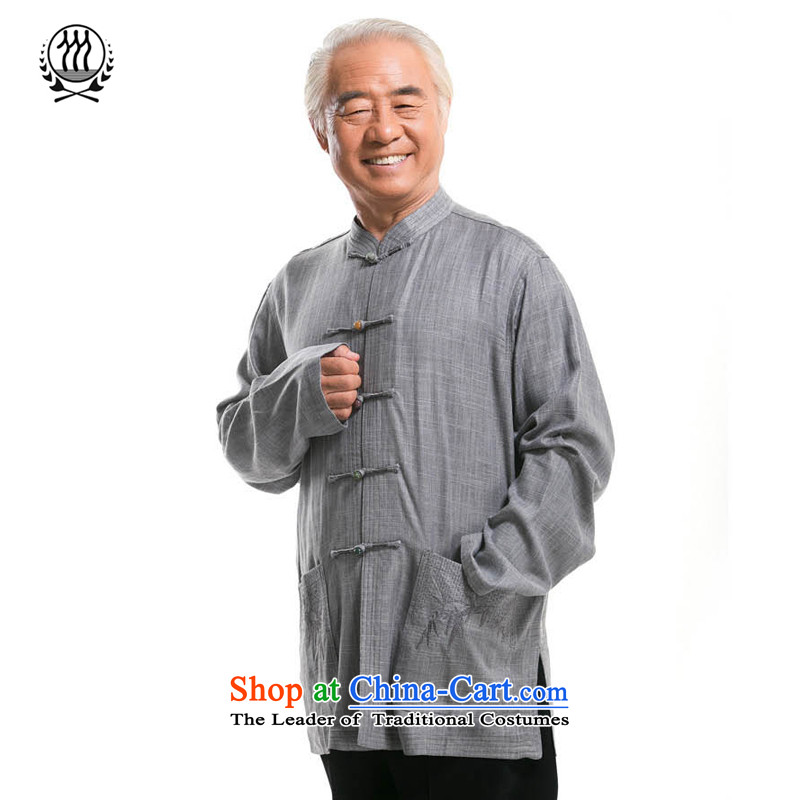 Thre line men and long-sleeved autumn linen straight Tang Dynasty Chinese leisure Han-national costumes China wind male embroidery old father replacing 0792-1 BLACKLEAD XL/180 blue-gray