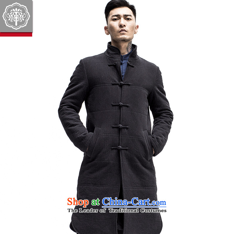 Intended for autumn and winter 2015 New Tree long coats original ethnic Men's Mock-Neck tray clip cotton Tang Jacket Color?170/M Hyun