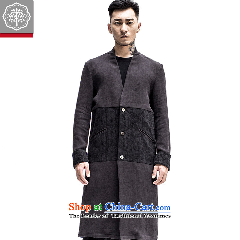 2015 Autumn tree to the new improved Tang dynasty men linen china wind shirt collar Chinese Tang Jacket Color聽175_L Hyun