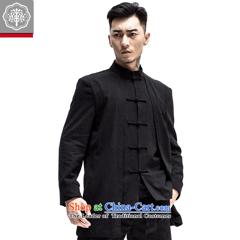 2015 Autumn tree to the new improved Tang dynasty China wind Men's Mock-Neck Shirt disc detained Chinese Tang Jacket Color?185/XXL Hyun