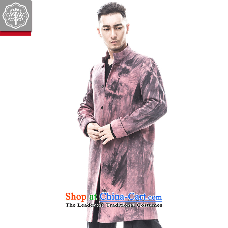 Intended for autumn and winter 2015 tree new men coats that long spell color jacket linen collar disc detained men Tang Dynasty Stanley color聽180_XL