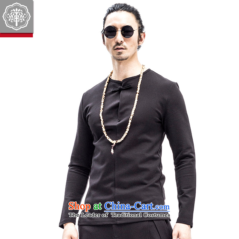 2015 Autumn to tree new men of cotton long-sleeved T-shirt with round collar solid color leisure Chinese Disc Clip T-shirt Sau San designer brands Hyun?175/L color