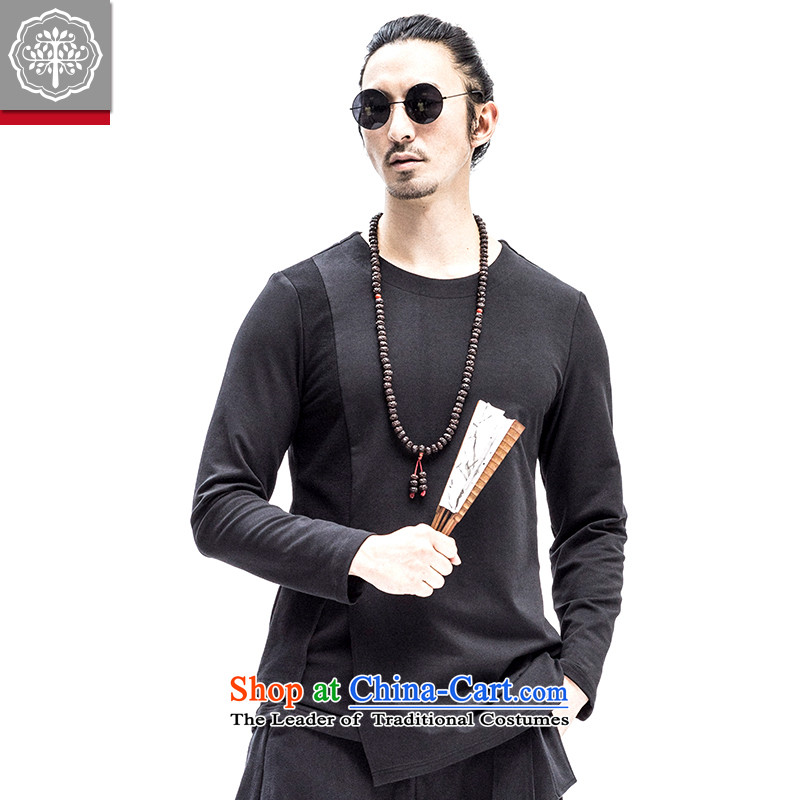 2015 Autumn tree to New Men long-sleeved T-shirt with round collar double minimalist wild cotton T-shirts, forming the solid color designer brands Hyun�5_XXL color