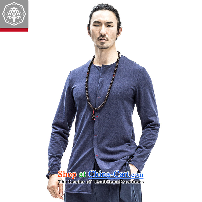 In the autumn of 2015, the new tree with men t-shirt with round collar Sau San pure color long-sleeved T-shirt, forming the shirt, leisure thin blue聽185_XXL