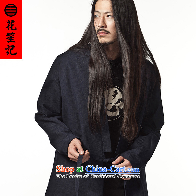His Excellency spend a note national retro China wind Dark Streaks Pure Cotton Han-men dark blue with a Chinese style lounge in the dark blue autumn flowers (M) (HUSENJI Polisario) , , , shopping on the Internet