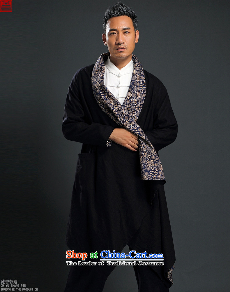 Renowned Tang dynasty China wind male Han-yi, cotton leprosy linen ball-zen unexpected grand prix cardigan loose double-sided frock coat black two wearing windbreaker聽L picture, prices, brand platters! The elections are supplied in the national character of distribution, so action, buy now enjoy more preferential! As soon as possible.