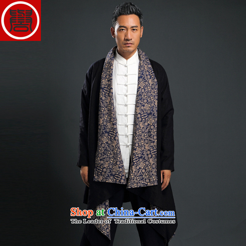 Renowned Tang dynasty China wind male Han-yi, cotton leprosy linen ball-zen unexpected grand prix cardigan loose double-sided frock coat black two wearing windbreaker?L