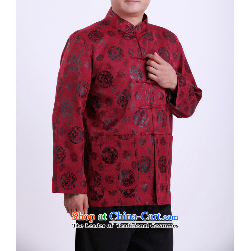 Mr Rafael Hui Kai new Timor Man Tang dynasty autumn and winter coats and long-sleeved in Tang Dynasty older men Tang blouses 13,142 Red聽Spring and Autumn, 190_