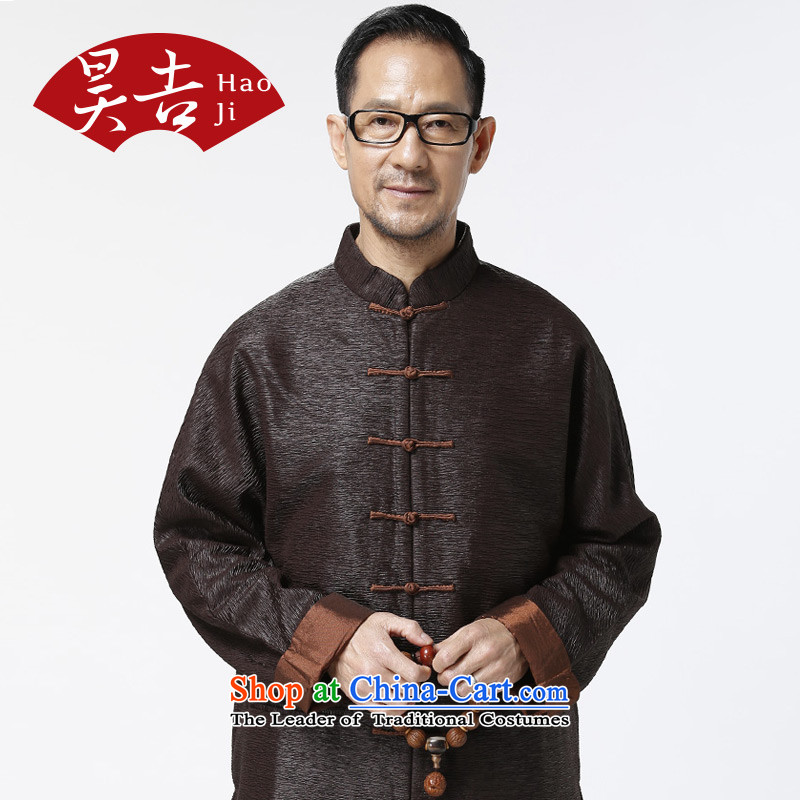 Ho Chi elderly long-sleeved jacket Tang Grandpa creasing of long-sleeved shirt elderly Chinese thick China wind clothes reddish brown燲L