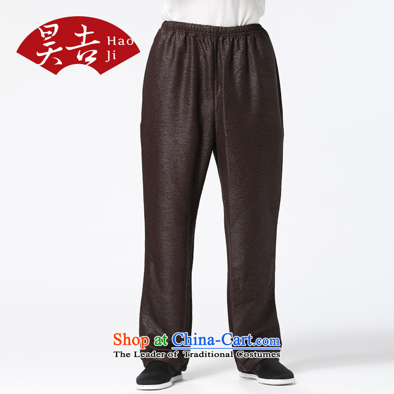 Ho-gil of older persons Tang pants elasticated waist with his father autumn creasing of the straight-legged pants loose China Wind Pants reddish brown retro聽M