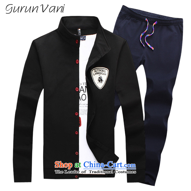 Gurun vani爐v, trouser press and new autumn 2015 sports tv, trouser press kit shirt + pants and packaged燱y001+k001 black trousers燲XXL navy blue