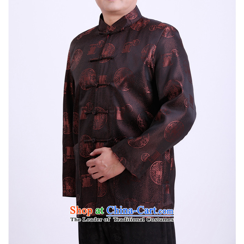 Mr Rafael Hui Kai spring and autumn 2015 Dili New Men Tang Dynasty Tang jackets in older Tang installed life 13143 175/brown spring and autumn clothing)