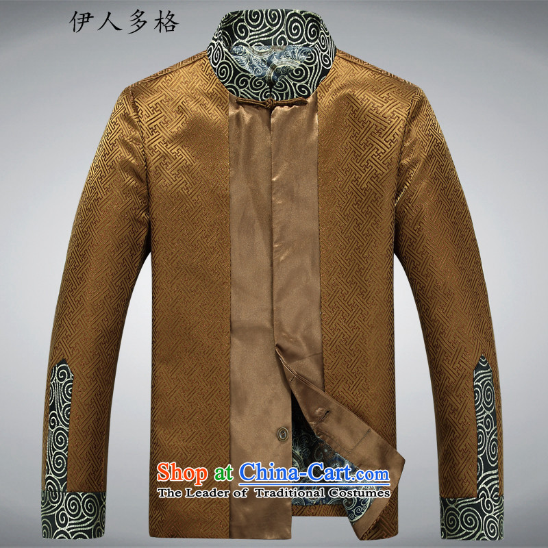 The Mai-Mai multi-聽 year 2015 Fall_Winter Collections men Tang dynasty long-sleeved shirt, Tang dynasty older men and national costumes China Wind Jacket men's golden聽XL