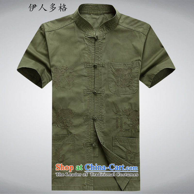 The Mai-Mai multiple cells? in the summer of 2015, Tang dynasty older men and short-sleeved middle-aged man kit Mr Tang dynasty short-sleeved kit of older persons for summer dark green?XL