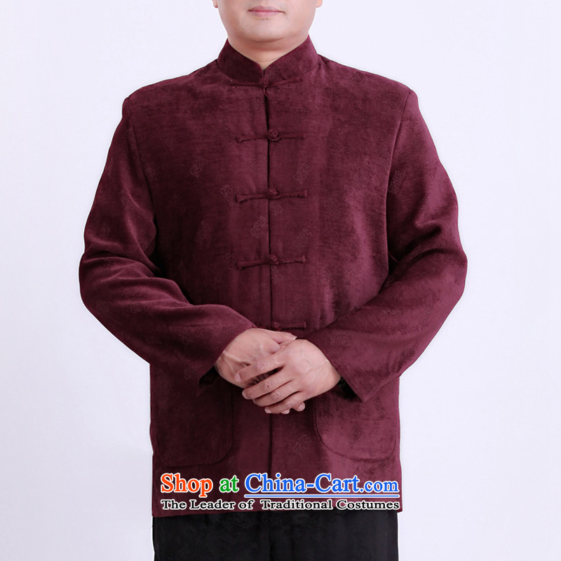 Mr Rafael Hui Kai new Timor Man Tang dynasty winter coats of Tang Dynasty in older men's long-sleeved blouses Tang there Red?185