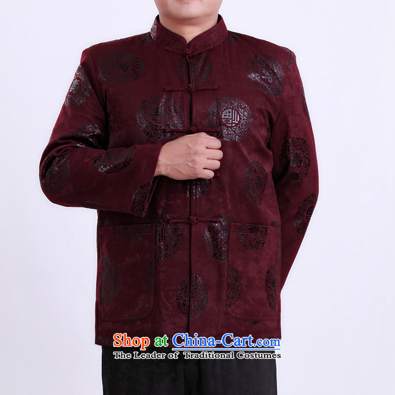 2015 WINTER New Tang dynasty in Tang dynasty and a long-sleeved older Chinese dress too happy life men's jackets bis 13143?170/spring and autumn, Purple