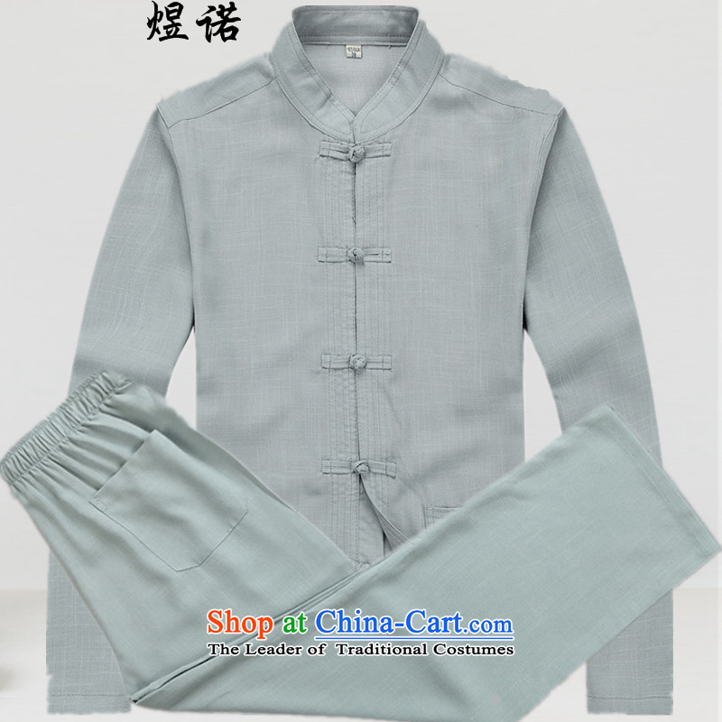 The Fall of Man Yuk long-sleeved blouses autumn Tang dynasty in older men Kit Chinese linen: China wind load grandpa load dress dad large gray suit?XL/180