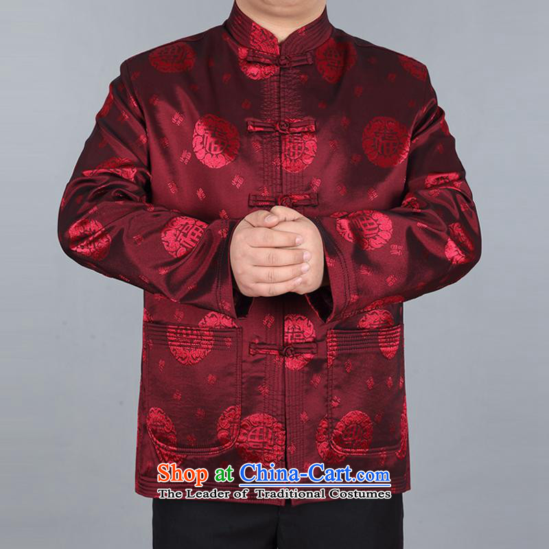 The elderly in the Tang dynasty aeroline male father boxed long-sleeved cotton two kits deep red?XXXL