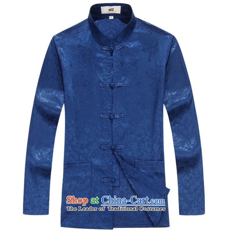 The elderly in the Tang dynasty aeroline male father replace two kits long-sleeved blue聽M