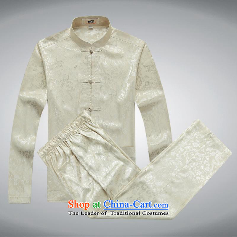 The elderly in the Tang dynasty aeroline male father boxed long-sleeved two kits?XXXL Light Yellow