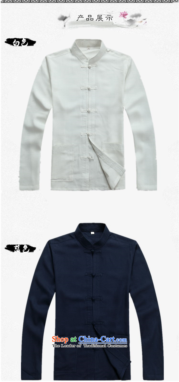 Familiar with the spring and autumn) Older long-sleeved Tang Dynasty Chinese father casual Kit Man Tang dynasty large long-sleeved shirt with father Han-grandfather boxed packaged聽L/175 white picture, prices, brand platters! The elections are supplied in the national character of distribution, so action, buy now enjoy more preferential! As soon as possible.