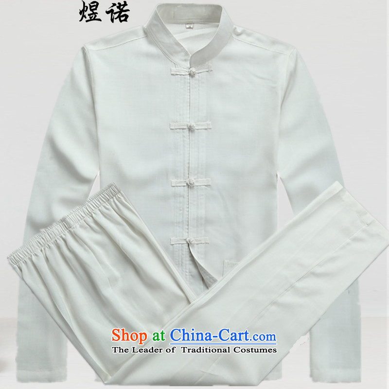 Familiar with the spring and autumn) Older long-sleeved Tang Dynasty Chinese father casual Kit Man Tang dynasty large long-sleeved shirt with father Han-grandfather boxed packaged?L/175 White