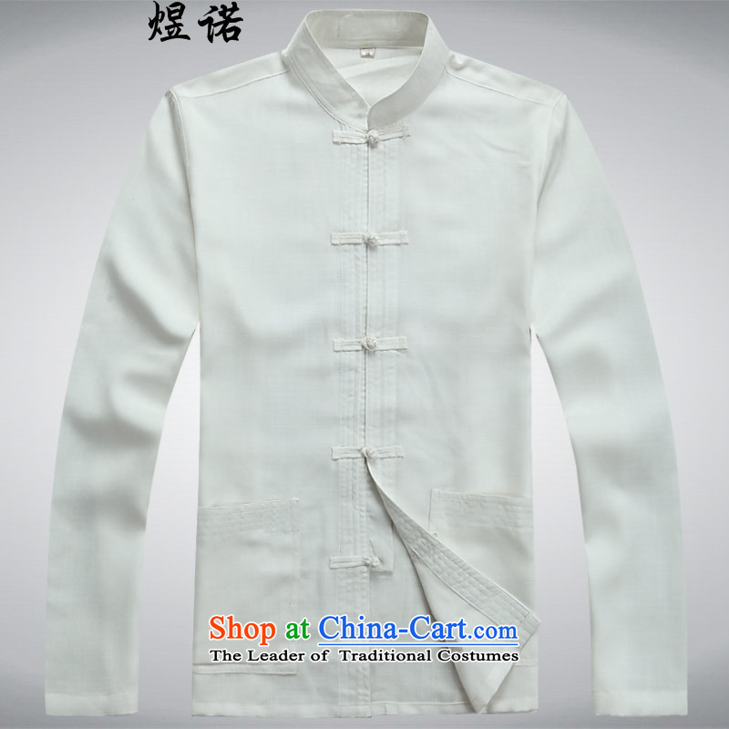 Familiar with the spring and autumn) Older long-sleeved Tang Dynasty Chinese father casual Kit Man Tang dynasty large long-sleeved shirt with father Han-grandfather boxed packaged聽L/175, white Yuk, , , , shopping on the Internet