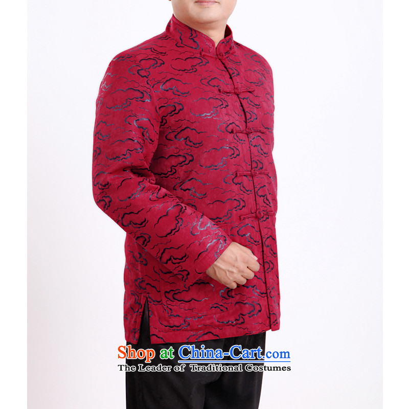 Mr Rafael Hui Kai new Timor Man Tang dynasty during the spring and autumn men in Tang Dynasty long-sleeved older men's blouses 13145 Tang聽165_ red winter_ folder cotton