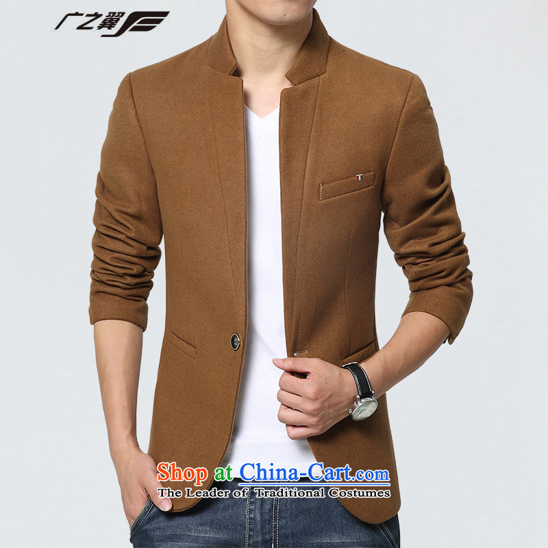 Wide Wing men stylish Chinese tunic Korean Mock-neck Sau San small jacket casual clothing is Yellow聽XL