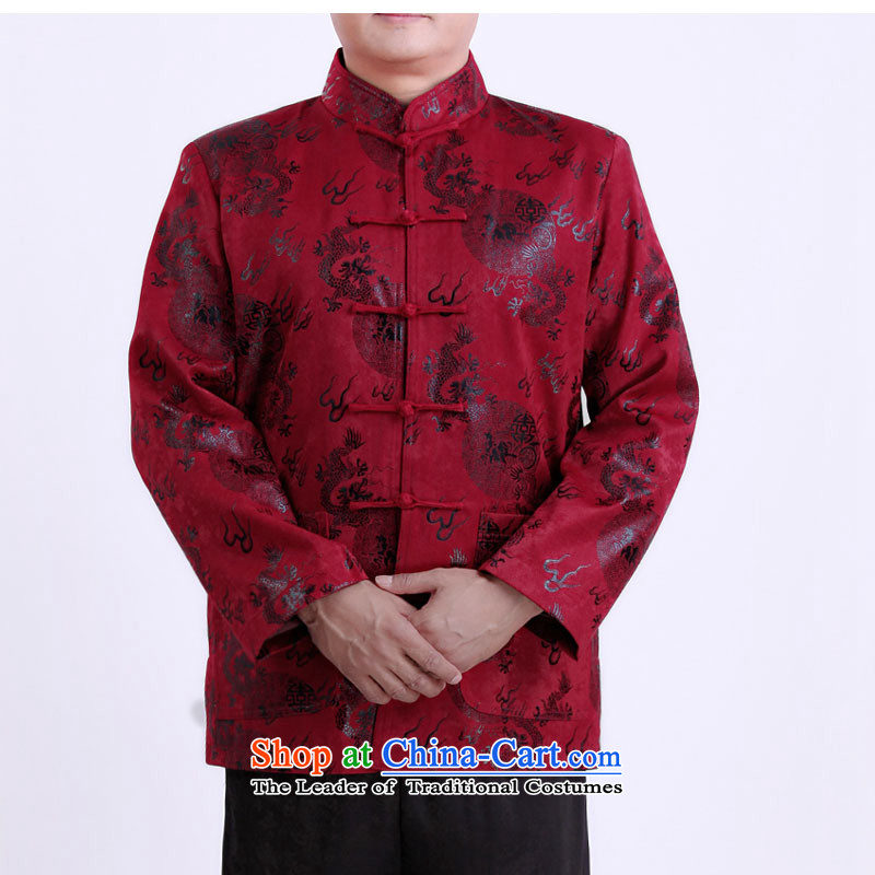 2015 WINTER New Tang dynasty in Tang Dynasty father load older elderly persons in Sau clothing Chinese men's jackets 13139 aubergine聽170_Winter_ folder cotton