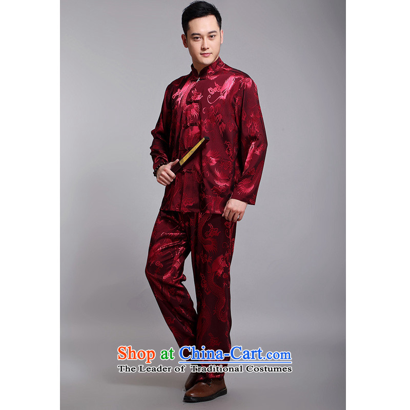 2015 New Tang dynasty and the spring and autumn father replacing men long-sleeved Tang Dynasty Jacquard Large Dragon Chinese men DS308 red?180 Kit