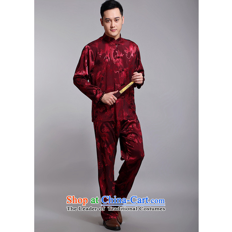 2015 New Tang dynasty and the spring and autumn father replacing men long-sleeved Tang Dynasty Jacquard Large Dragon Chinese men DS308 red 180 Pack, Dili Mr Rafael Hui Kai , , , shopping on the Internet