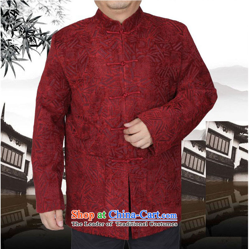The Spring and Autumn Period and the new thick Tang dynasty male leisure Chinese Tang jackets in older men Tang blouses 13175 Red?190 T-Shirt