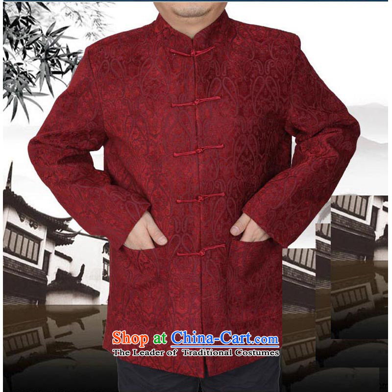 The Spring and Autumn Period and the new thick Tang dynasty male leisure Chinese Tang jackets in older men Tang blouses 13176 Red?190 T-Shirt