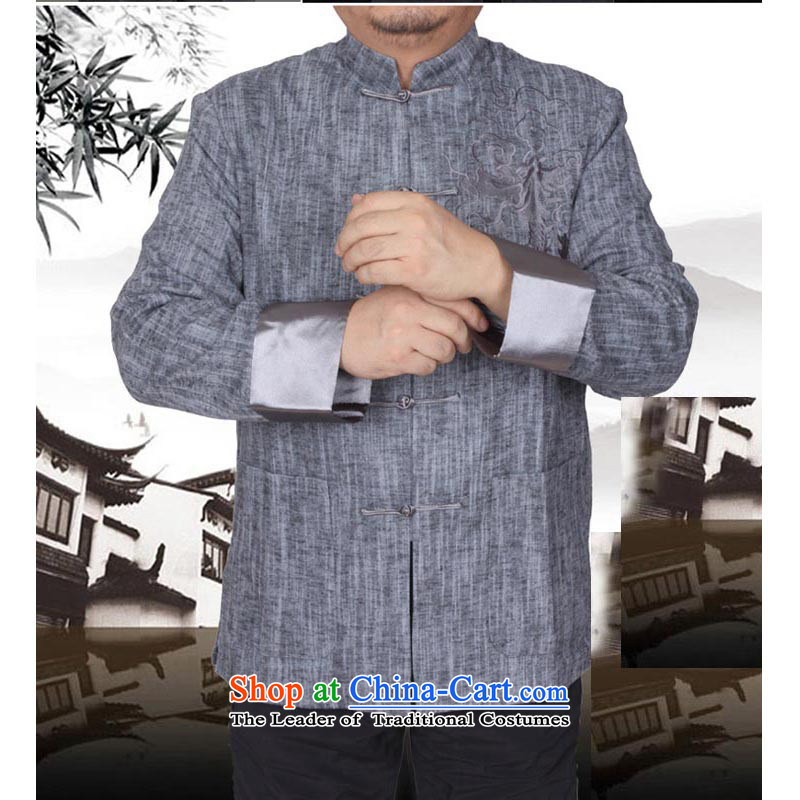 The Spring and Autumn Period and the new Man Tang dynasty men cotton linen solid color jacket embroidered in Chinese Tang dynasty older 13163 gray?shirt 165