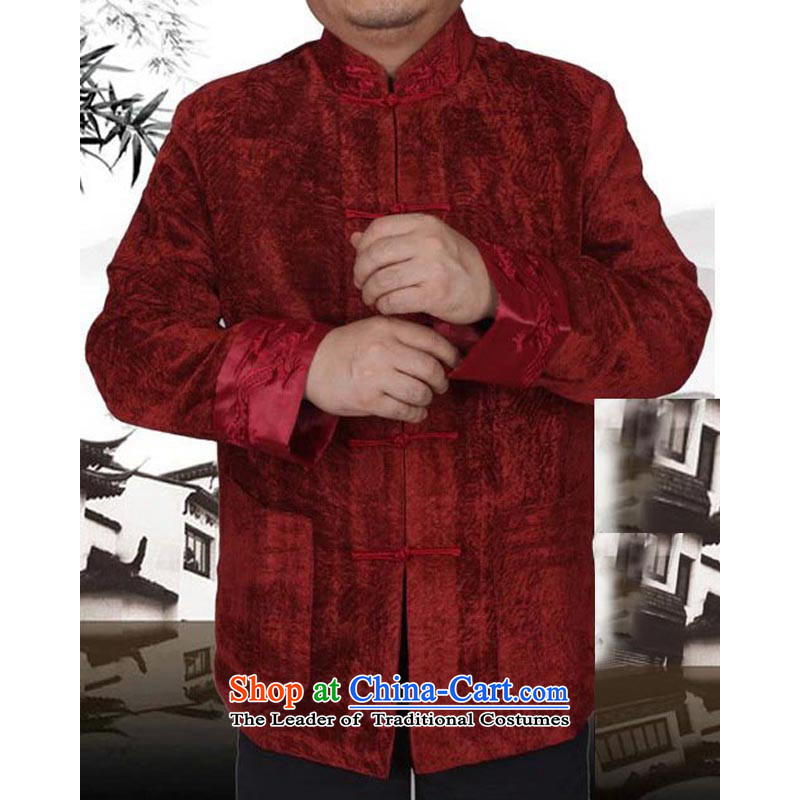 In spring and autumn 2015 new upscale thick Tang Gown of men in hip trendy fashion elderly men Tang jackets?13159?Red?165 T-Shirt