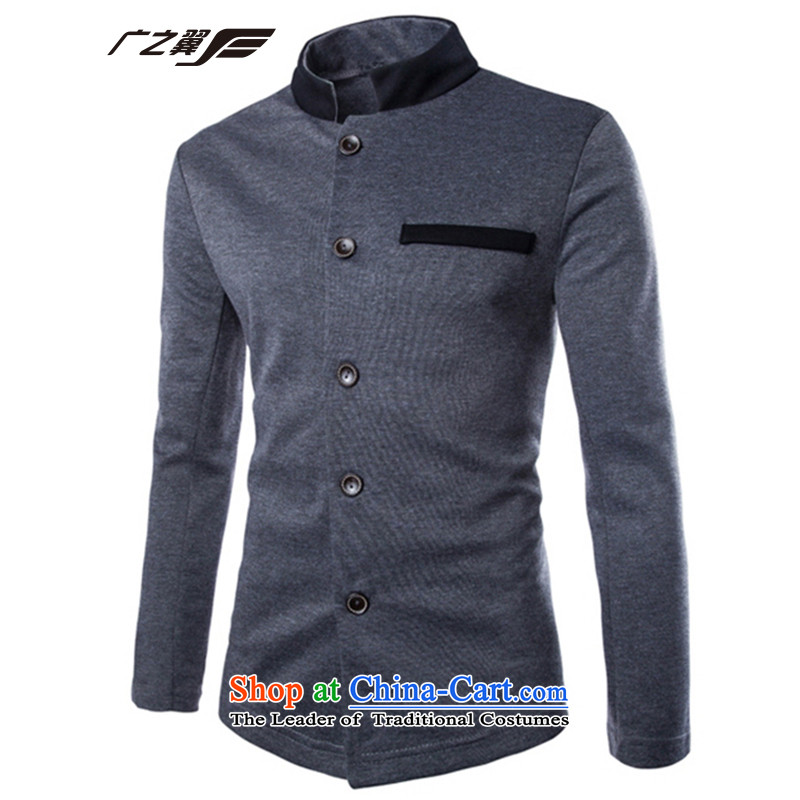 Wide Wing Men's Mock-Neck Chinese tunic youth with a stylish lounge Jacket Color Plane Collision men fourth quarter applicable jacket gray?M