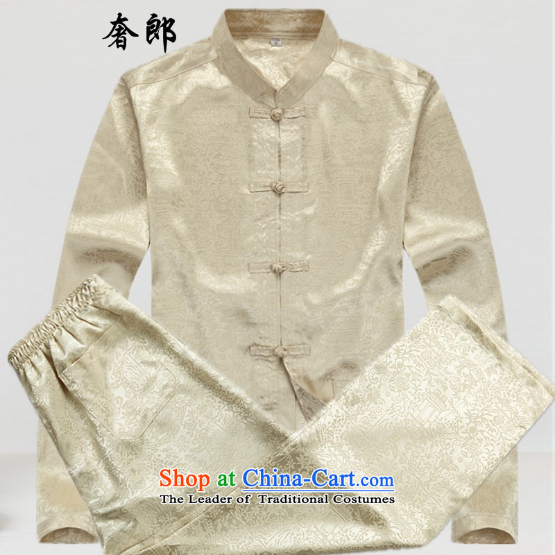 The luxury Health聽 2015 middle-aged men Tang dynasty l of older persons in the men's Han-load father hand fall arrest large shirts disc male father boxed packaged聽XXL_185 beige