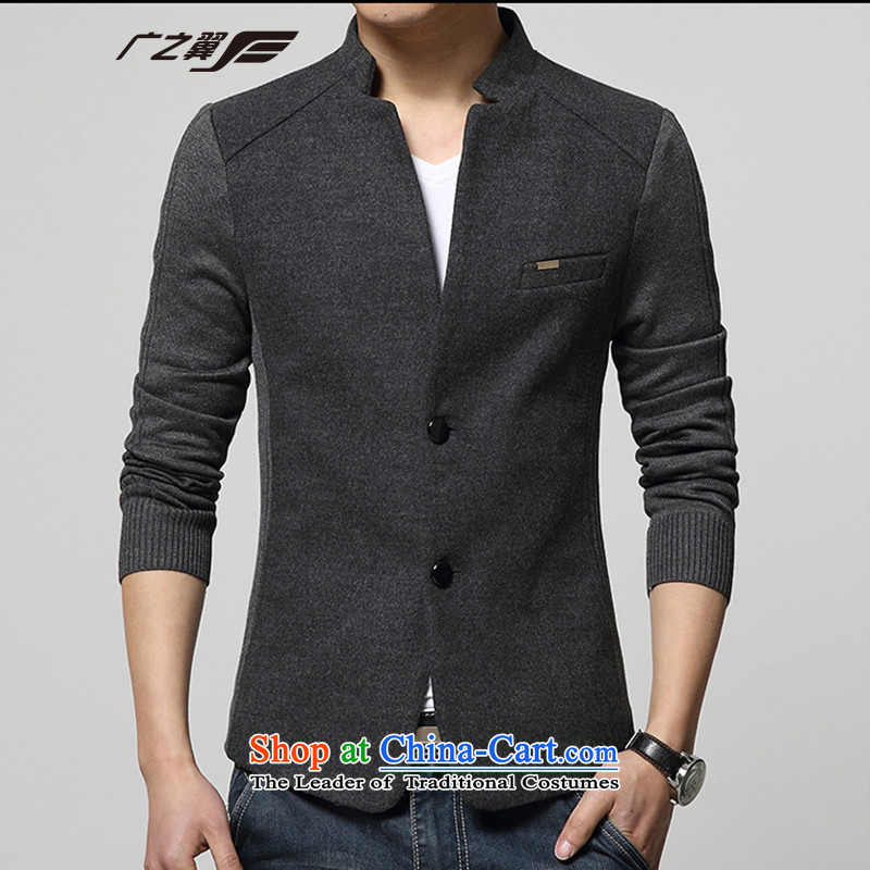Wide Wing Men's Mock-Neck Chinese tunic youth with stylish casual jacket men fourth quarter applicable jacket gray�XL
