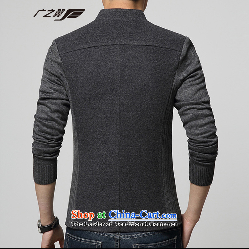 Wide Wing Men's Mock-Neck Chinese tunic youth with stylish casual jacket men fourth quarter applicable jacket gray聽XL, Wide Wing , , , shopping on the Internet