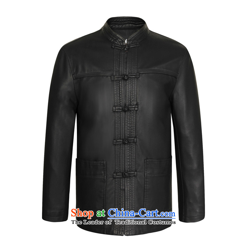 Sato Chu autumn and winter New Men Tang dynasty leather jacket in older men China wind Apparel Pack Black聽180-XL Dad