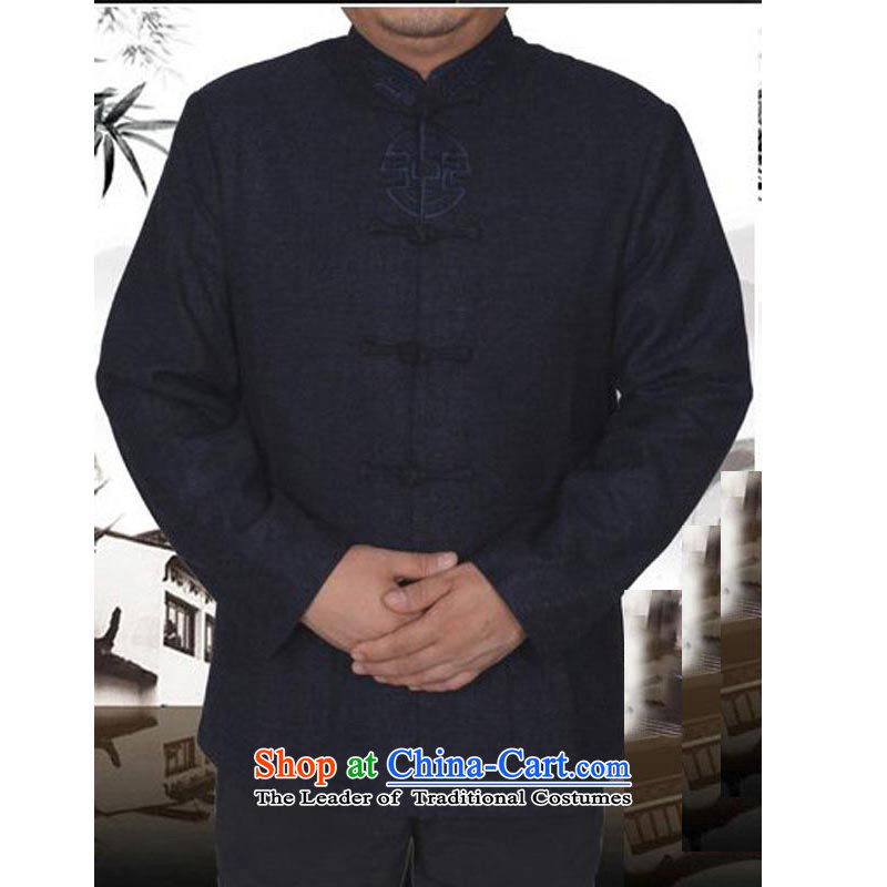 Rabies urges the new Tang dynasty in older long-sleeved Tang casual collar national costumes men's jackets 13 157 gray爏hirt 190