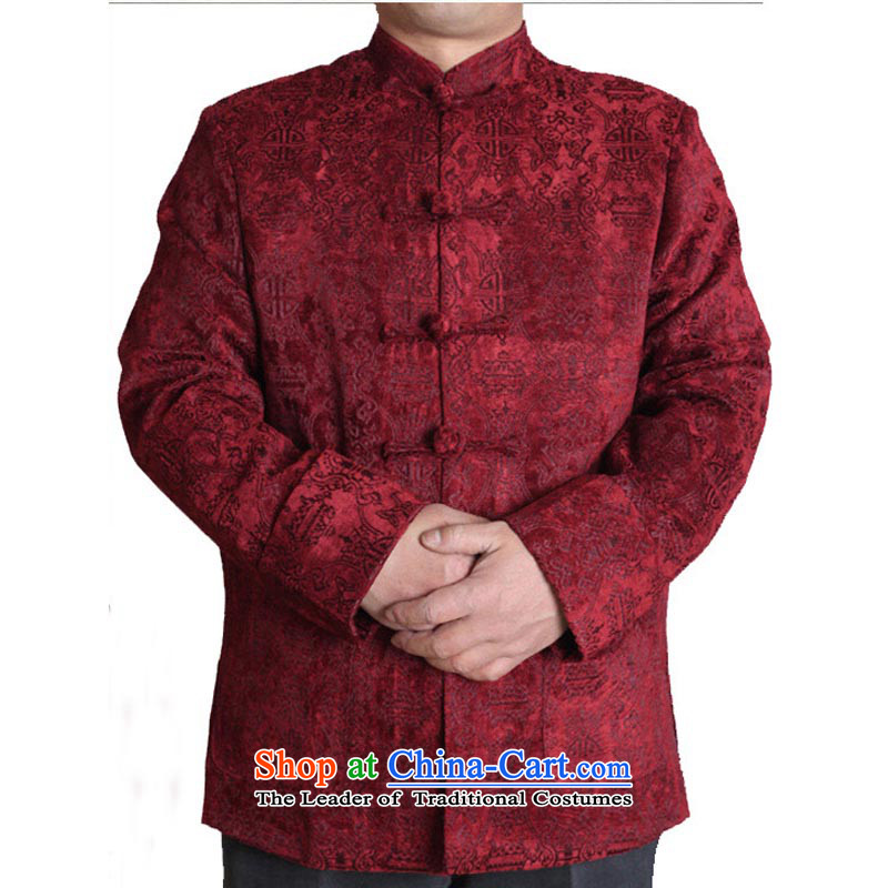 Tang Dynasty Chinese men's New Men's Mock-Neck Tang long-sleeved jacket ye men with father grandfather good gift reached 13,160 Blue?185 T-Shirt