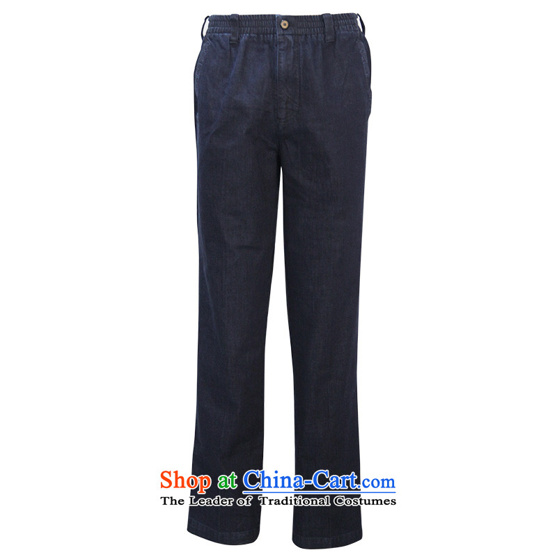 To Tang dynasty dragon autumn and winter, China wind men PURE COTTON PANT?14352?Deep Blue Dark Blue?50