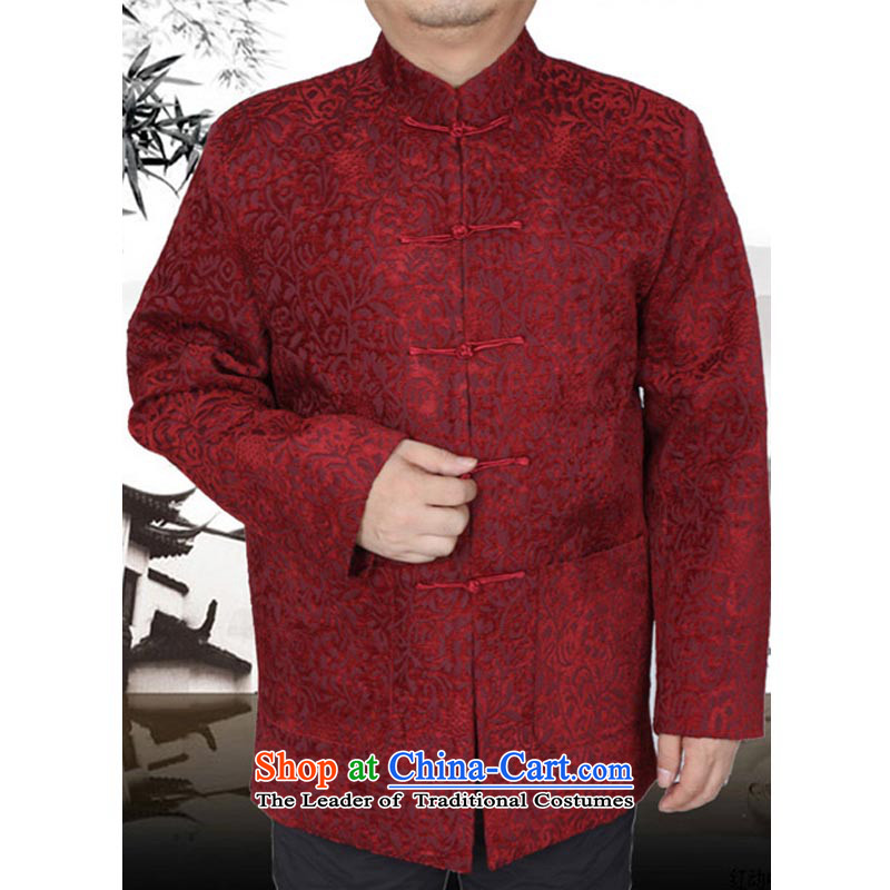 The Spring and Autumn Period and the new thick Tang dynasty male leisure Chinese Tang jackets in older men Tang blouses 13177 Red?190 T-Shirt