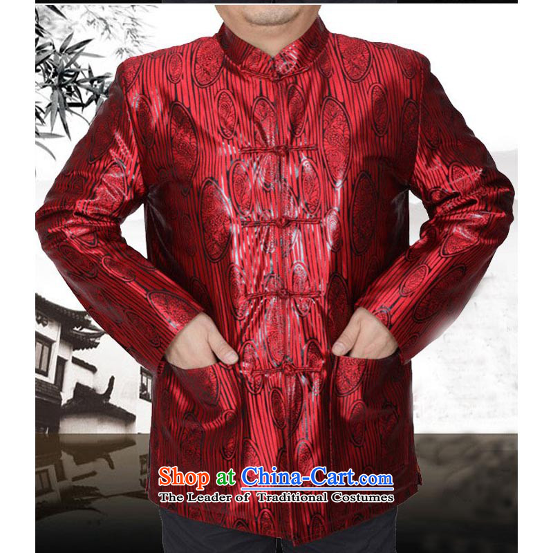 The Spring and Autumn Period and the Tang dynasty new male taxi thin cotton jacket in Tang Dynasty Chinese elderly men Tang Gown robe 13178 Red?Spring and Autumn, 190/