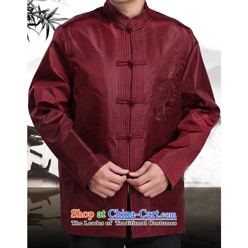 The autumn and winter new elderly men father Tang dynasty replacing Tang jackets Chinese Tang dynasty long-sleeved聽shirt 185 13170 Red